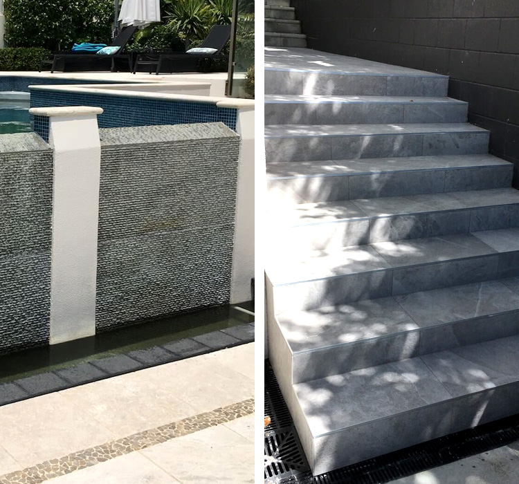 outdoor tiling auckland pool steps